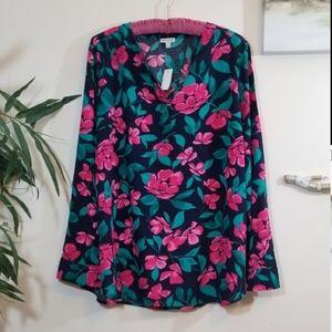 TALBOTS floral long sleeve blouse size Lp